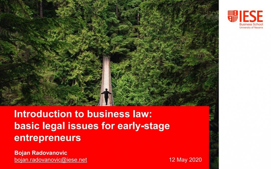 Online training continues: the Firm gives a session on essential legal aspects for entrepreneurs at IESE